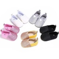 5 Color Baby First Walkers New Soft Sole 0-18M Baby Girl sequins soft Kid Prewalker Toddler Antiskid Shoes