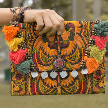 Handmade Ipad Cover Bag with Hmong Embroidered in Orange