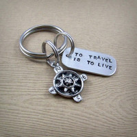 To Travel Is to Live - Hans Christian Andersen Quote Compass Keychain