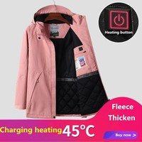Autumn Winter Women USB Smart Heating Skiing Jackets Outdoor Windproof Waterproof Thick Thermal Hiking Windbreaker Coats S-2XL