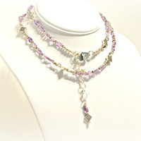 Amethyst Necklace - Feminine, Long, Delicate, Gemstone, Gifts for Her, Gifts Under 50, Romantic, Purple, Handcut Stones