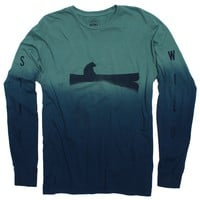 Up a Creek Bear in a Canoe Dip-Dye long sleeve graphic tee (IN PRODUCTION NOW)