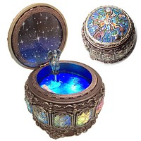 Amperer Vintage Music Box with Constellations Rotating Goddess LED Lights Twinkling Resin Carved Mechanism Musical Box with Sankyo 18-Note Wind Up Signs of The Zodiac Gift for Birthday (Upgraded) A1 Upgraded