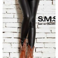 Black Ladies Faux Leather Leggings one Size YL948985b from efoxcity