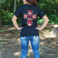Red Abstract Cross Back Tee