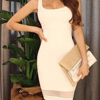 White Sleeveless Mesh Panel Dress