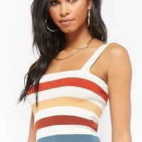 Ribbed Sweater-Knit Multicolor Striped Cami