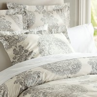 LUCIANNA MEDALLION DUVET COVER, FULL/QUEEN, GRAY