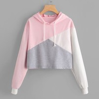 Women Autumn Sweatshirt Patchwork Crop Top Hoodie Cropped Sweatshirt Women Cute Women Tracksuit Harajuku Ladies Harajuku Clothes