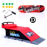 Red D Type Skate Park Ramp Parts for Tech-Deck Fingerboard Kid Children Toy Gifts