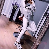 """Puma"" Women Fashion Casual Letter Logo Print Long Sleeve Hooded Sweater Trousers Set Two-Piece Sportswear"