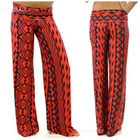 Mulberry Red Tribal Print Palazzo Pants