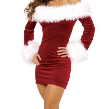 Red Long Sleeve Mini Dress with Fur Detail