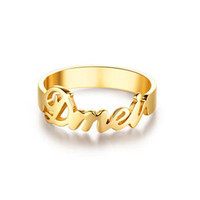 Name Ring, Personalized Ring,Custom Name Ring, 18k Gold Plated on  sterling silver