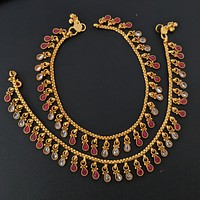 Traditional tear drop dangling design with polki stone gold imitation anklets