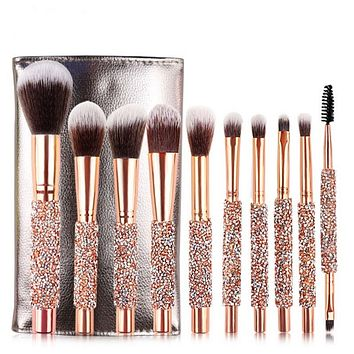 Rose golden Glitter 10pcs crystal  foundation brush set with bag makeup brushes