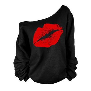 T Shirt Women Women Long Sleeve Big Lips Off Shoulder T Shirt Top Outerwear Clothes
