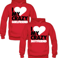 I LOVE MY CRAZY BOYFRIEND I LOVE MY CRAZY GIRL FRIEND DESIGNED Couple Hoodie