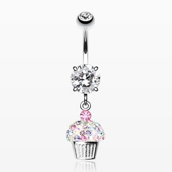 Cupcake Delight Multi-Gem Sparkle Dangle Belly Button Ring