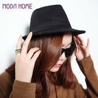 Women Men Hat Curly Floppy Brim British Jazz Hip-Hop Fedora Hat Cap Black chapeu  SM6