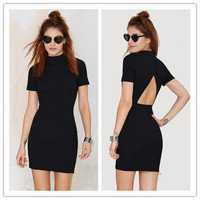 Fashion Casual Simple Solid Color Turtleneck Short Sleeve Backless Hollow Tight Pack-hip Mini Dress