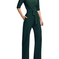 Adogirl 2018 Office Lady One Piece Wide Leg Pants Women Rompers Choker Overalls Half Sleeve jumpsuits for women