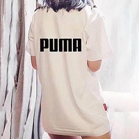 PUMA Summer Women Men Classic Logo Print Round Collar T-Shirt Top Blouse