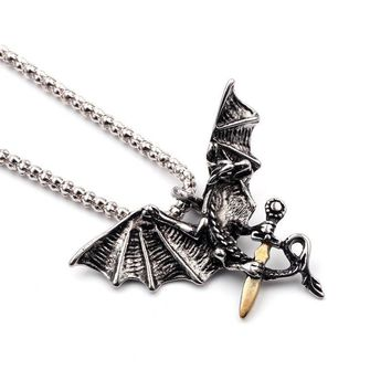 Cool Game of Thrones Vintage Necklace Dragon Necklaces & Pendants Claw Pull The Sword Retro Jewelry For Men Jewelry