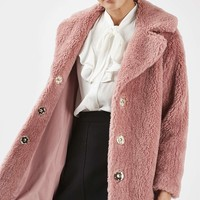 Pink Casual Faux Fur Coat - Jackets & Coats - Clothing