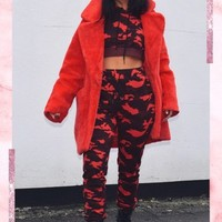 carmen red camo tracksuit bottoms