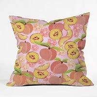 Lisa Argyropoulos Peaches On Pink Outdoor Throw Pillow