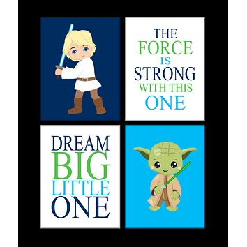 Star Wars Nursery Decor Set of 4 Prints, Yoda and Luke Skywalker, Dream Big, The Force Is Strong With This One