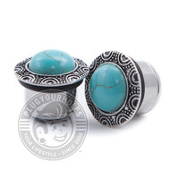 Turquoise Brass Single Flare Steel Plugs