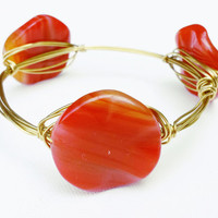 Candy Red Glass Bead Wire Wrapped Bangle - Red Glass Bead Wire Wrapped Bracelet - Gold Bangle Bracelet - Red Glass Bead Jewelry