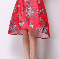 Red Floral Printed Midi Skirt