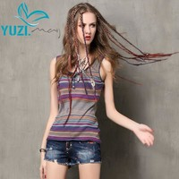 Women Tops 2017 Yuzi.may Boho New Cotton Linen T-shirt  O-Neck Skinny Sleeveless Skin Friendly T shirt Women B9521