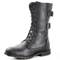 West Blvd Womens Cairo Military Lace Up Combat Boots