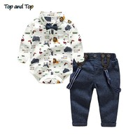 Top and Top Baby Boy Clothing Set Autumn Newborn Gentleman Suit Long Sleeve Bow Shirt+Suspender Pants Kids Cotton Formal Clothes