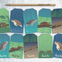 Printable Turtle Gift Tags, Digital Turtles Hang Tags Collage Sheet, Ocean Life Tags, Turtle Thank You Tags, Green Blue, DIY Gift Wrapping