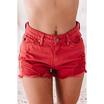 Feeling Feisty Distressed Kancan Shorts (Red)