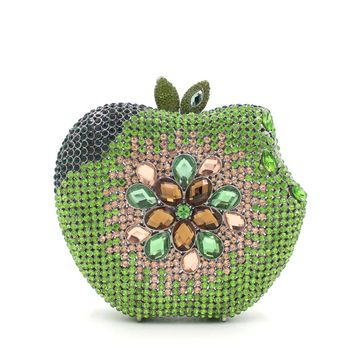 Green Apple Bridal Minaudiere Crystal Clutches for Prom
