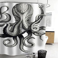 octopus shower curtain bathroom decor