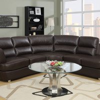 Sofa - Sectional / Dark Brown Bonded Leather