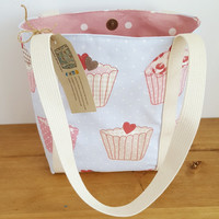 Small Tote Bag with Cupcake Fabric, Handmade Handbag, Gift for Mum or Friend, Womens Fabric Lunch Bag, Book or Bible Journalling Bag