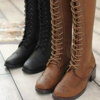 ZLYC Women's Vintage Lace Up Knee High Boots