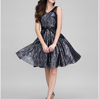 AUSTRALIA COCKTAIL PARTY DRESS BLACK A-LINE V-NECK SHORT KNEE-LENGTH ORGANZA