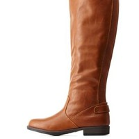Chestnut Gored Flat Riding Boots by Charlotte Russe