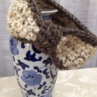 Women's and Girls Earthy Almond with Granite Rock colored Paris wrap ear warmer - for travel in Windy City, soccer dance ski ballet