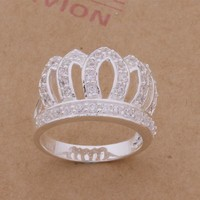 Gift Stylish Shiny New Arrival Fashion 925 Silver Luxury Crown Diamonds Jewelry Ring [6045472129]