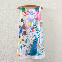 Summer Peacock Print Sleeveless Tops Women's Fashion T-shirts [4919364484]
